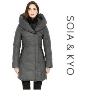 SOIA & KYO  Camyl Slim Fit Mid Length Down Parka